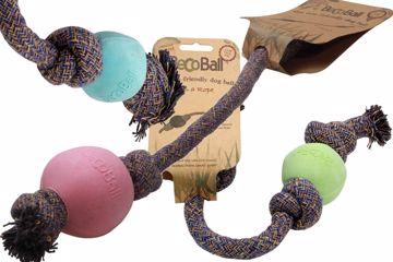 Boll med rep i tre färger och två storlekar